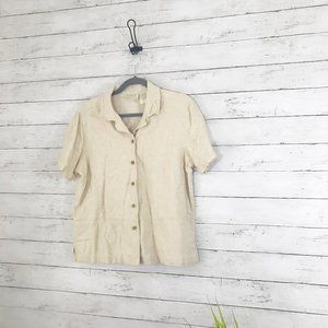 Erika Linen Blend Beige Short Sleeve Shirt - M